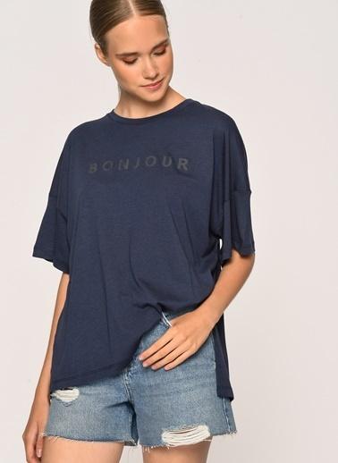 Loves You Bonjour Baskılı Loose Fit T-Shirt Lacivert